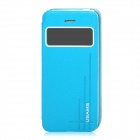 USAMS Stylish Flip-open PU + PC Case w/ CID Window for Iphone 5 / 5s - Light Blue