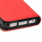 Moda PU Leather Flip-Open Case w / botón para Iphone 5C - Rojo + Negro