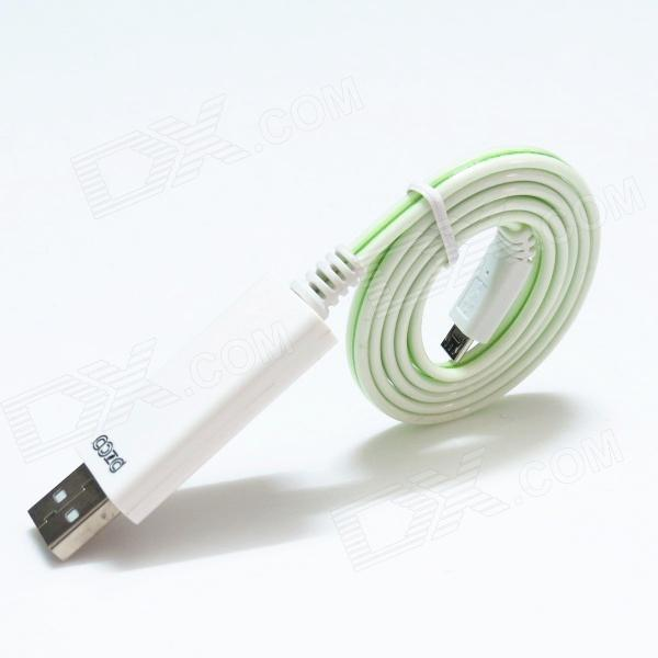 PZCD PZ-31 Green Light Visible Flowing Current Charge & Sync Data Cable for Micro USB Device - White pzcd pz 41 usb 2 0 male to micro usb male data sync flat cable for samsung htc more green