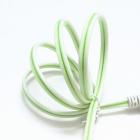 PZCD Green Light Visible Flowing Current Charge & Sync Data Cable for Micro USB Device - White