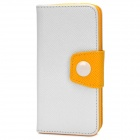 Protective PU Leather Case w/ Stand for Iphone 5C - White + Yellow
