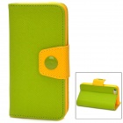 Fashion PU Leather Flip-Open Case w/ Button for Iphone 5C - Green + Yellow