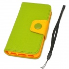 Moda PU Leather Flip-Open Case w / botón para Iphone 5C - Verde + Amarillo