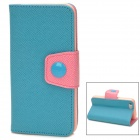 Moda PU Leather Flip-Open Case w / botón para Iphone 5C - Blue + Pink