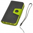 Fashion PU Leather Flip-Open Case w/ Button for Iphone 5C - Black + Green