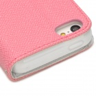 Fashion PU Leather Flip-Open Case w/ Button for Iphone 5C - White + Pink