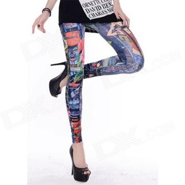 Fashionable Stylish Graffiti Pattern Leggings - Multicolored