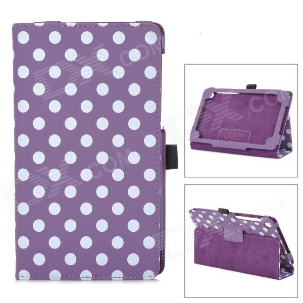 Polka Dot Pattern Protective PU Case w/ Stand for Google Nexus 7 Second - Purple + White handpainted cactus and polka dot printed pillow case