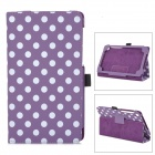 Polka Dot Pattern Protective PU Case w/ Stand for Google Nexus 7 Second - Purple + White