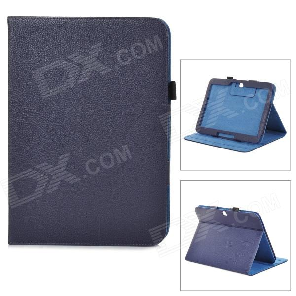 Lychee Pattern Protective PU Leather Case w/ Stand for Samsung Galaxy Tab3 P5200 - Deep Blue floveme luxury flip stand case for samsung galaxy tab3 10 1 p5200 tab3 pu leather protective cover pouch bag black for tab 3