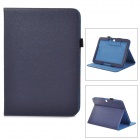 Lychee Pattern Protective PU Leather Case w/ Stand for Samsung Galaxy Tab3 P5200 - Deep Blue