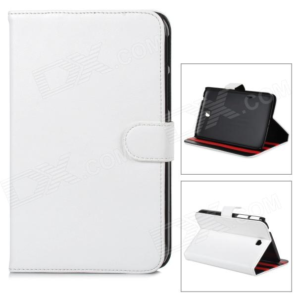 Protective PU Leather Flip-open Case w/ Stand for Samsung Tab3 T210 - White