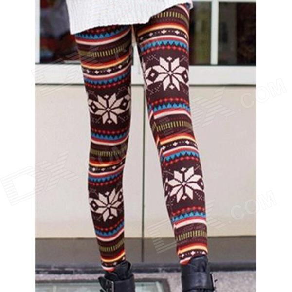 Snowflake Pattern Thickened Non-Inverted Velvet Women's Leggings - Multicolored
