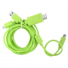 Micro USB MHL to HDMI Male HD Video Adapter Cable w/ Micro USB 5Pin to 11Pin Cable - Green