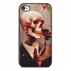 Skull Pattern Protective Plastic Back Case for iPhone 4 / 4S - Brown + Black + Red