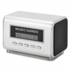 Portable Mini Speaker w/ FM Radio / TF Slot - Silver + Silvery White