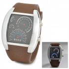 Stylish Men's Digital Wrist Watch - Brown + Silver (2 x CR2016)