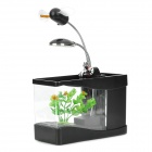 ZHENWEI USB / Battery Powered Mini Aquarium Fish Tank w/ Lamp + Fan - Black