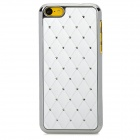 Protective Diamond Checked Plastic Back Case for Iphone 5C - White + Silver