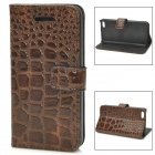 Fashion Alligator Pattern PU Leather Case for Iphone 5C - Coffee
