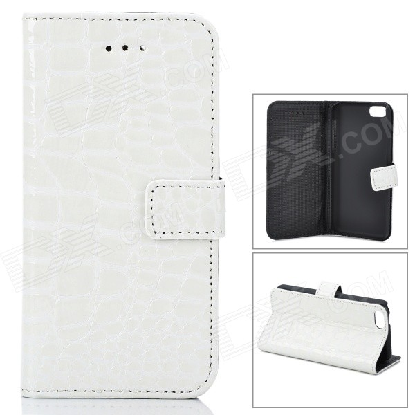 Fashion Alligator Pattern PU Leather Case for Iphone 5C - White stylish protective pu leather case for iphone 5c white transparent black