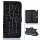 Fashion Alligator Pattern PU Leather Case for Iphone 5C - Black