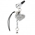 40018 3.5mm Anti-Dust Plug w/ Heart Shaped Rhinestones Chain for Iphone 4 / 4S - Silver