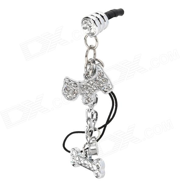 40015 3.5mm Anti-Dust Plug w/ Little Gog + Bone Style Rhinestones Chain for Iphone 4 / 4S - Silver