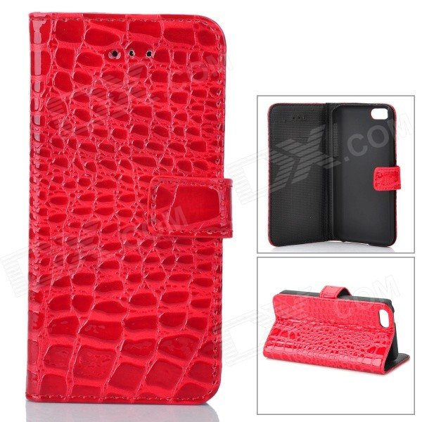 Fashion Alligator Pattern PU Läderfodral till Iphone 5C - Röd