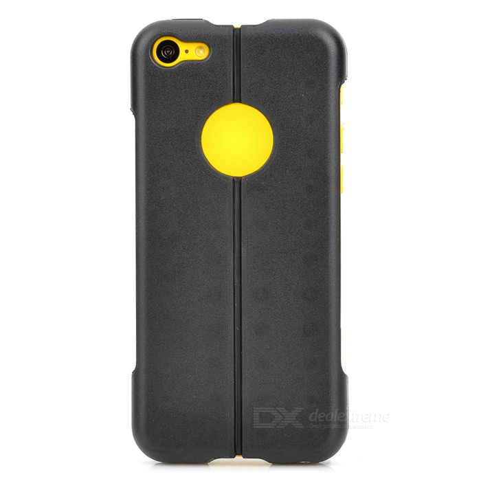 Protective Silicone + ABS Half-folding Back Case for Iphone 5C - Black protective aluminum silicone back case for iphone 5c grey black