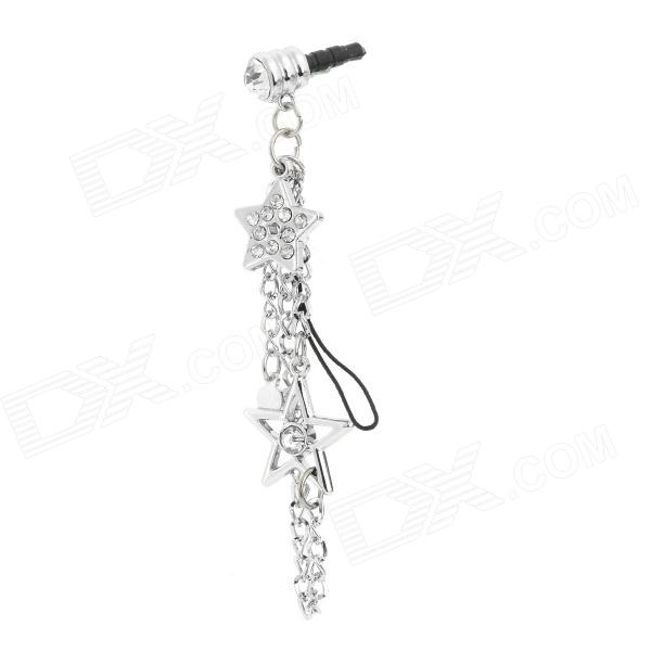 Rhinestone Embedded Star Shape Decoration 3.5mm Audio Jack Ant-dust Plug - Silver