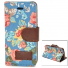 Protective Flower Pattern Cloth + PU Leather Case for Iphone 5 - Blue