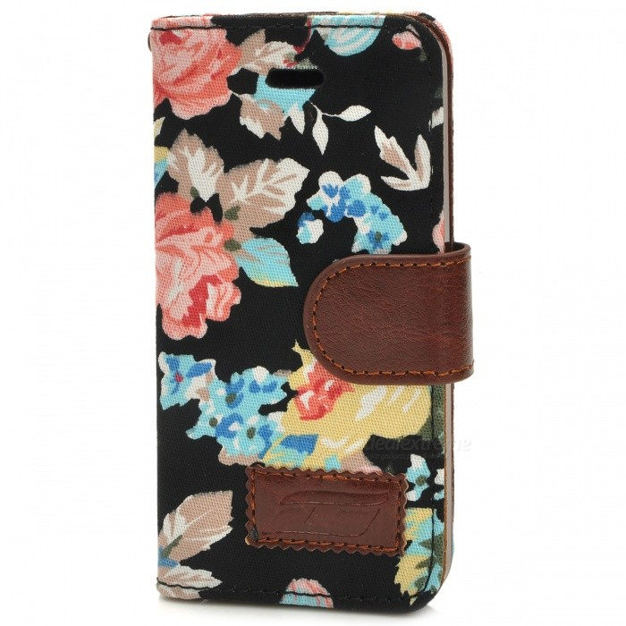 Protective Flower Pattern Cloth + PU Leather Case for Iphone 5 - Black 100pcs lot 1n5820 do 27