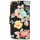 Protective Flower Pattern Cloth + PU Leather Case for Iphone 5 - Black