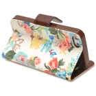 Protective Flower Pattern Cloth + PU Leather Case for Iphone 5 - Multicolored