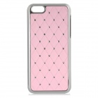 Grid Pattern w/ Crystals Protective Plastic Back Case for Iphone 5C - Silver + Pink