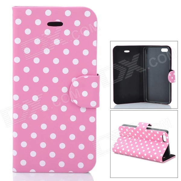 Protective Polka Dots Pattern Flip-Open PU Leather Case for Iphone 5C - Pink + White ipega i5056 waterproof protective case for iphone 5 5s 5c pink