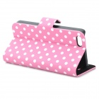 Protective Polka Dots Pattern Flip-Open PU Leather Case for Iphone 5C - Pink + White