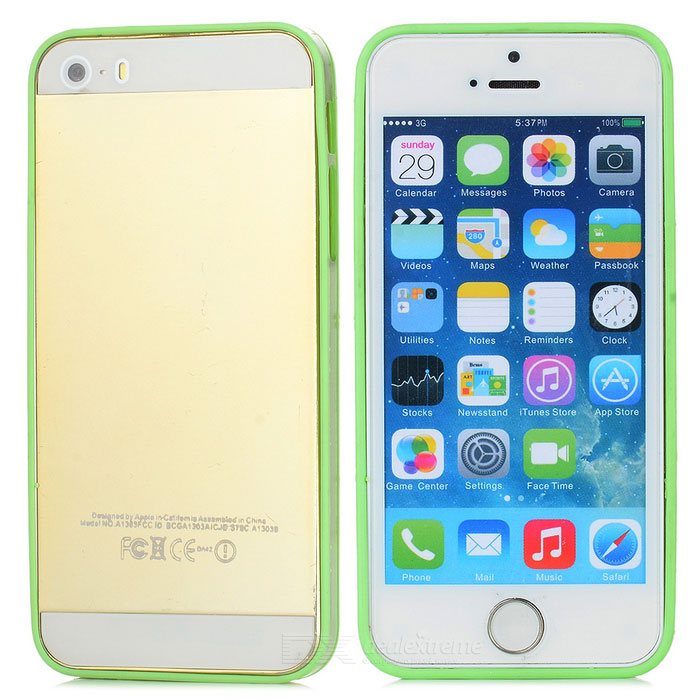 Ultrathin Protective PC + TPU Bumper Frame for Iphone 5 - Green + Transparent
