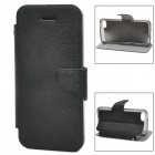 Protective Wood Grain PU Leather Case for Iphone 5C - Black