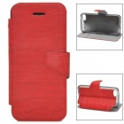 Protective Wood Grain PU Leather Case for Iphone 5C - Red + Translucent Black