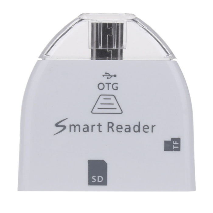 GT-013 Micro USB OTG Card Reader for Samsung Galaxy S3 / S4 / N7100 - White + Silver 2 in 1 usb and micro usb otg tf sd card reader white