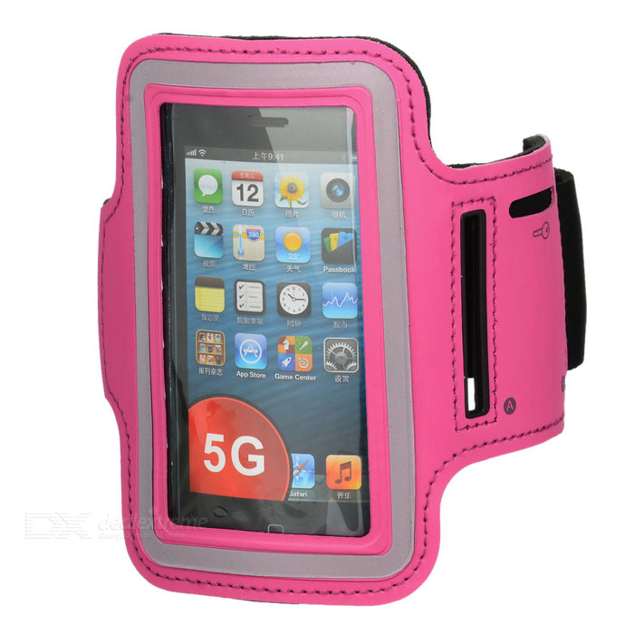 Sports Gym Neoprene + Stretch Cotton Armband Case for Iphone 5 / 5s - Deep Pink
