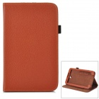 Lychee Grain Style Protective PU Leather Case for Samsung Galaxy Tab 3 T210 - Brown