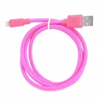 USB Male to 8 Pin Male Nylon Charging Data Cable for iPhone 5 + iPad 4 - Deep Pink (100 CM)