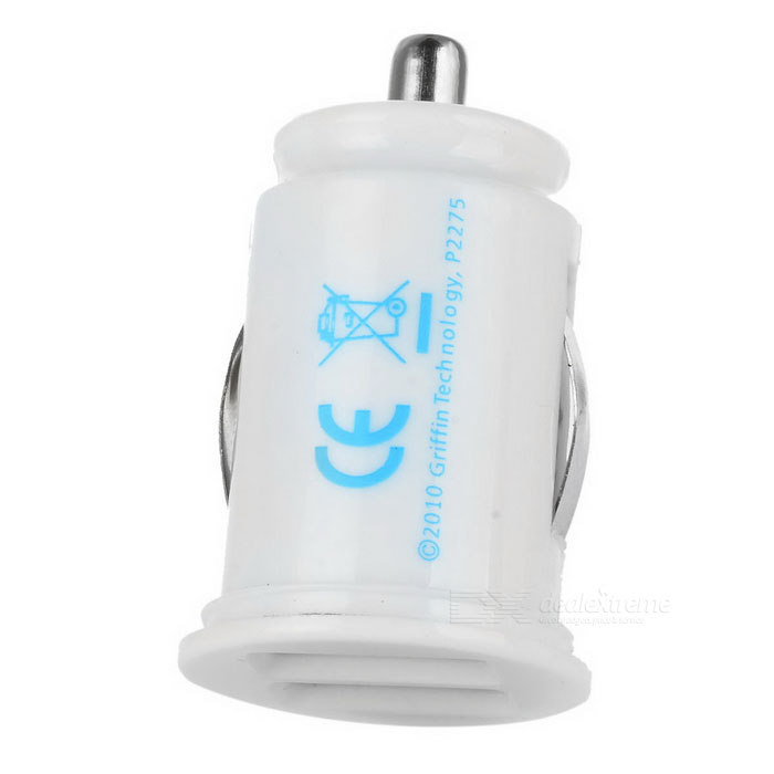 Mini Car Cigarette Powered Charging Adapter w/ Double USB Output - White