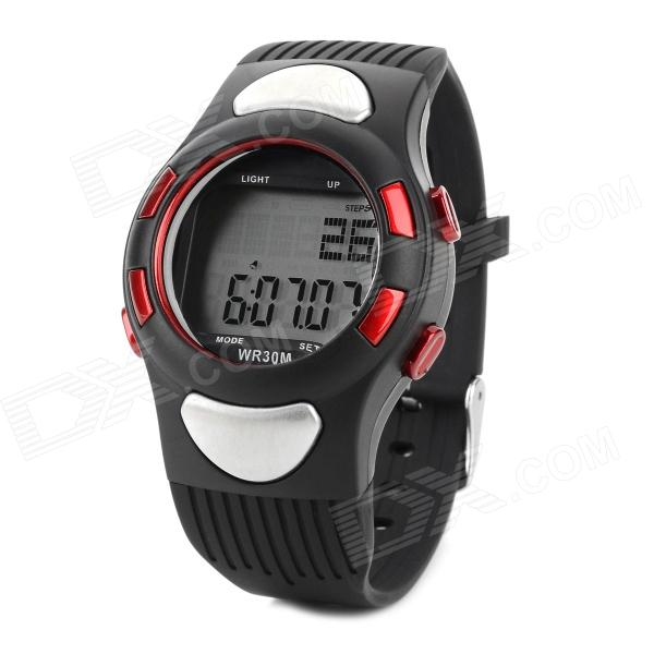 Sports Silicone Band Heart Rate Monitor - Silver + Black + Red