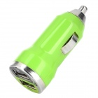 Car Cigarette Powered Charging Adapter w/ Double USB Output for Iphone - Green