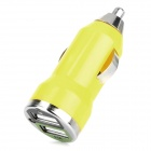 Car Cigarette Powered Charging Adapter w/ Double USB Output - Yellow