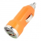 Car Cigarette Powered Charging Adapter w/ Double USB Output - Orange